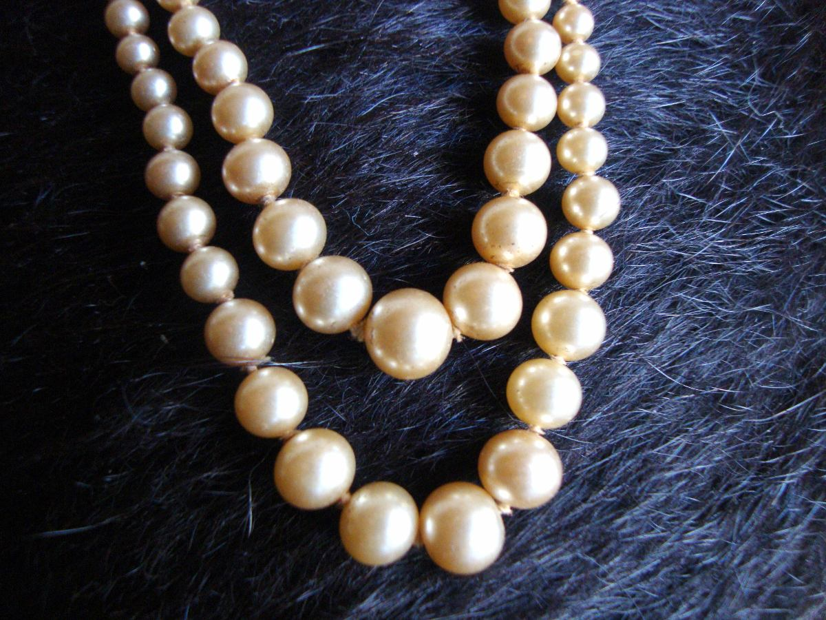 fa6919b4b71c ant. collar perlas simil natural doble vuelta -broche plata. Cargando zoom.