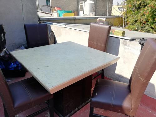 antecomedor 4 sillas mesa de mármol base con cajones