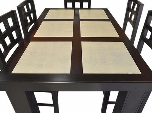 antecomedor con mesa rectangular y 6 sillas modelo sofía