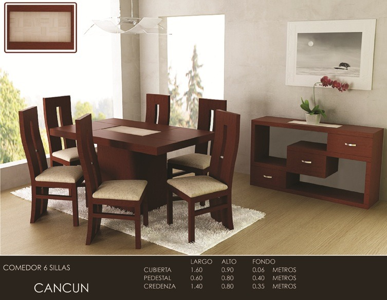 Antecomedor nebraska mesa 6 sillas chocolate moderno for Antecomedores modernos pequenos