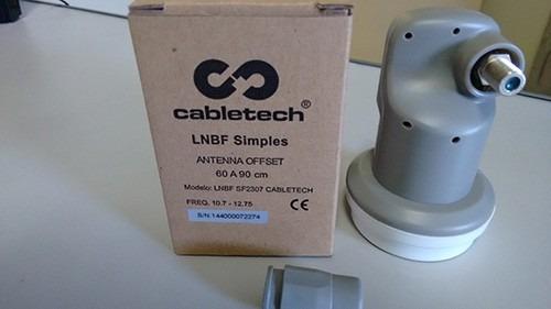 antena 60cm ku + lnbf single + 20m cabo + conector +receptor