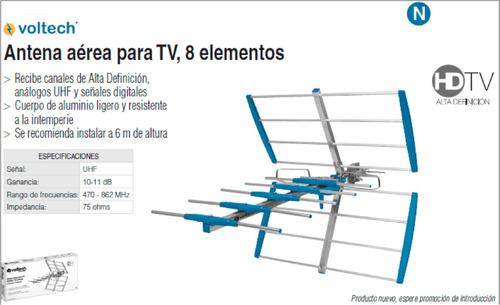 Antena aerea para tv 8 elementos hdtv voltech oferta - Precios de antenas de television ...