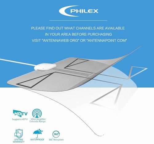 antena amplificada de hdtv transparente de 50 millas phil