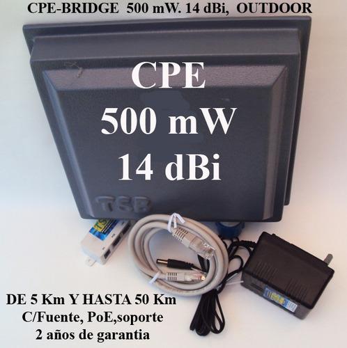 antena cpe-bridge (cliente) 500 mw-14dbi - 2,4 ghz 5 km.