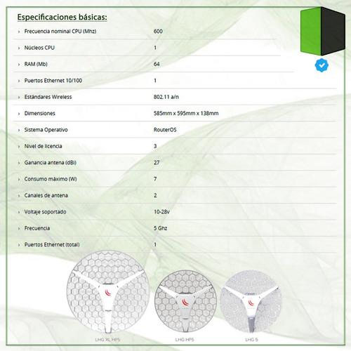 antena cpe mikrotik lhg xl hp5 5.8 ghz 27 dbi 40km c/fuente