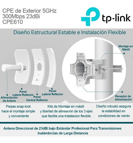 antena cpe610 exterior wi-fi tp-link 5ghz 300mbps