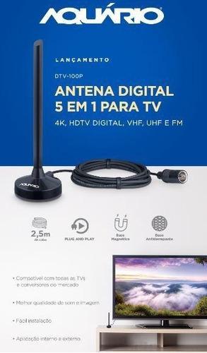 antena digital aquário 5 em 1 vhf uhf fm hdtv 4k dtv-100p