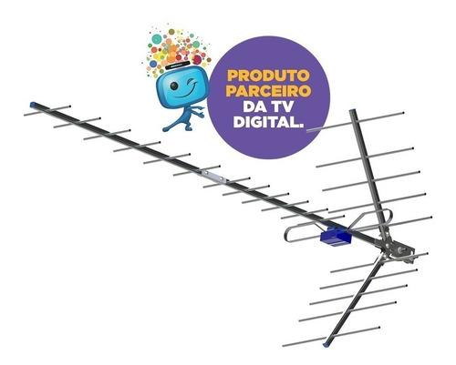 antena digital externa com mastro boca de jacare para 2 tv
