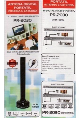 antena digital interna e externa compacta base imã fio 5mt