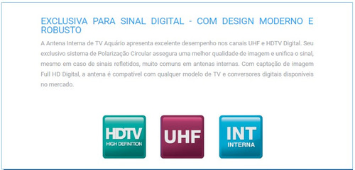 antena digital interna uhf hdtv dtv1000 aquário tv digital