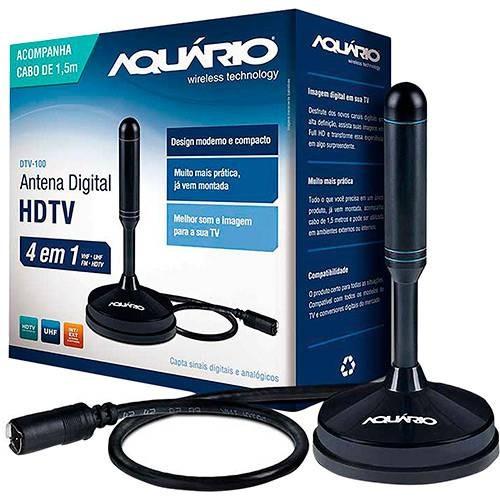 antena digital para tv dtv-100 vhf uhf fm e hdtv - aquário