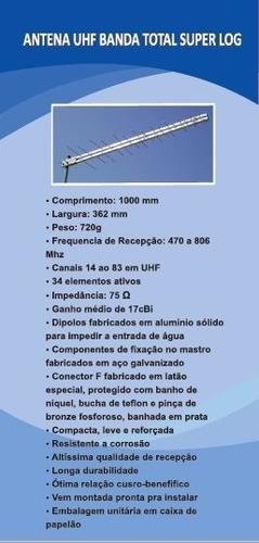 antena digital uhf sinal hdtv 34 elementos