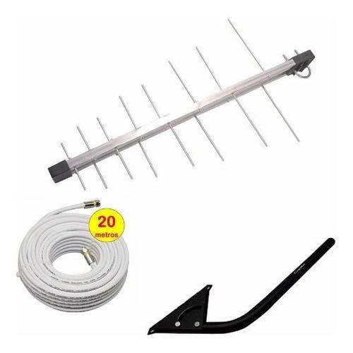 antena externa digital 4k vhf uhf hdtv com mastro e cabo kit