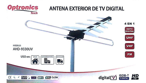 antena externa uhf/vhf para  hd tv digital  mod.9429