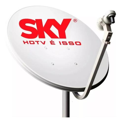 antena mini parabólica 60cm  lnb simp. sem cabo coaxial ku