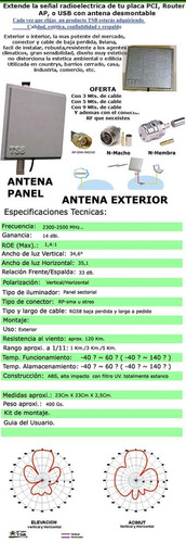 antena panel wireless 14 dbi , 2,4 ghz ext. 9 mts. de cable
