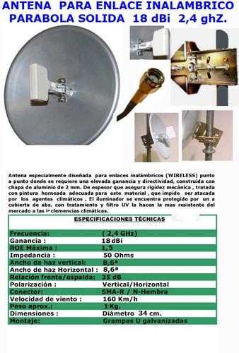 antena parabola solida aluminio 18 dbi  2,4 ghz pigtail rsma