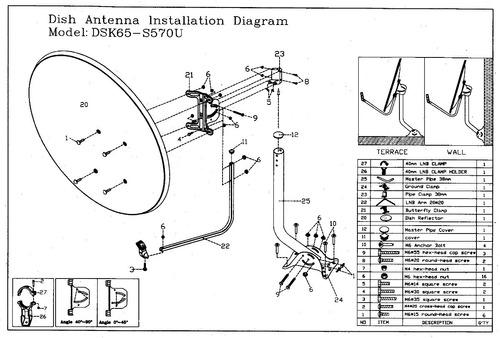 antena parabólica satelital 65 cm