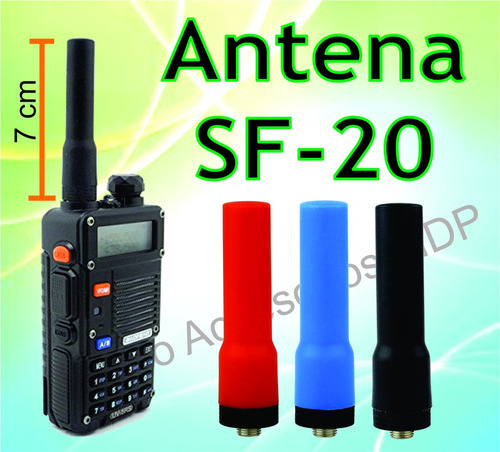 antena sf20 baofeng mini flexible kenwood sma-f / pequeña