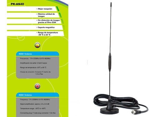 antena television digital isdb-t punktal base magnetica nnet