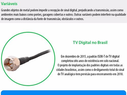 antena tv conversor digital hdtv interna externa cabo 3m