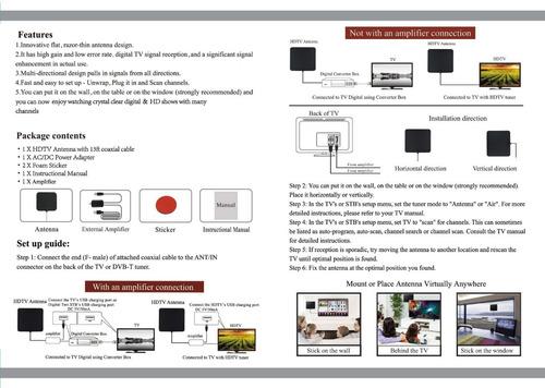 antena tv digital full hd hdtv  interior + amplificado usb