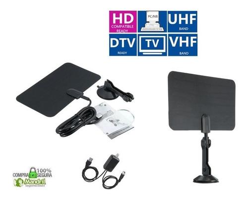 antena tv digital tdt hd interior plana base booster vhf uhf
