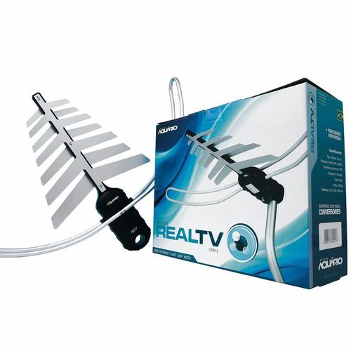 antena tv externa vhf/uhf/digital 4 em 1 dtv-3200 aquario