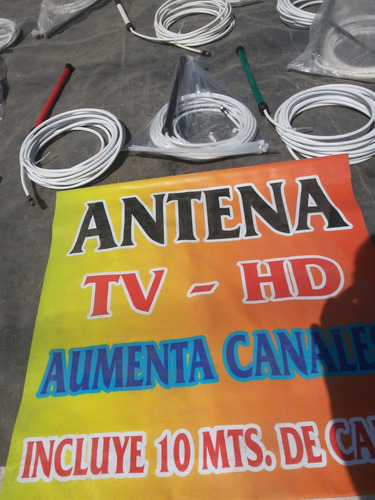 antena tv hd con 10 mt cable rg6 60%m