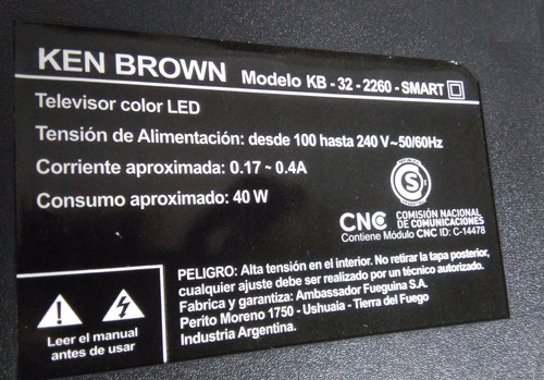 antena wi-fi para ken brown modelo kb 32-2260 smart
