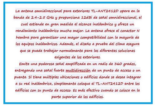 antena wifi tp-link tl-ant2412d 12dbi para exterior puebla