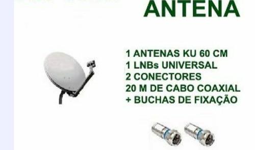 antenas ku 60 cm 5 completas + lnb + 100 metros cabo