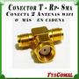 Conector T Rp-sma Splitter Divisor De Señal Para 2 Antenas