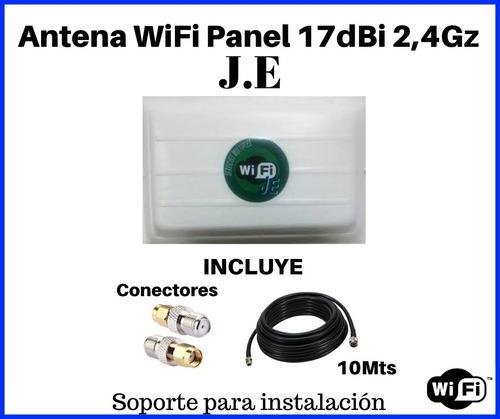 antenas wifi panel 17dbi 2,4ghz j.e 10mts de cable