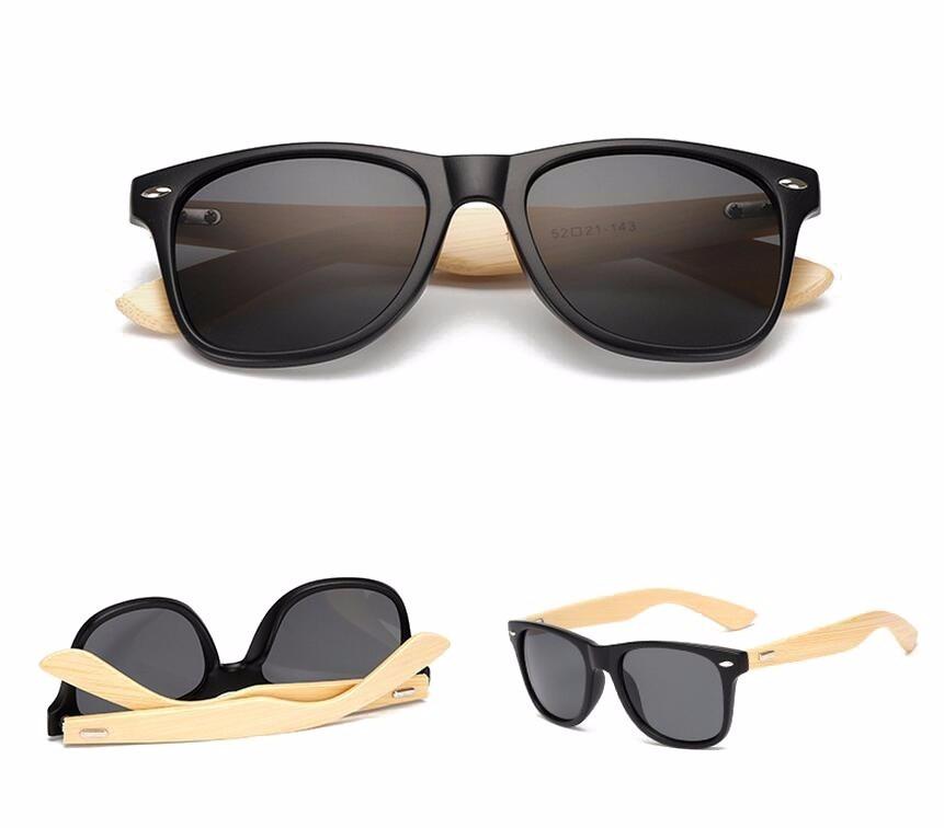 anteojos de sol negro con marco de bambú protecciónuv lente. Cargando zoom. 0502ad90c038