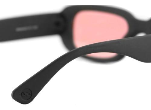 anteojos sol infinit new york negro mate lente rosa medium