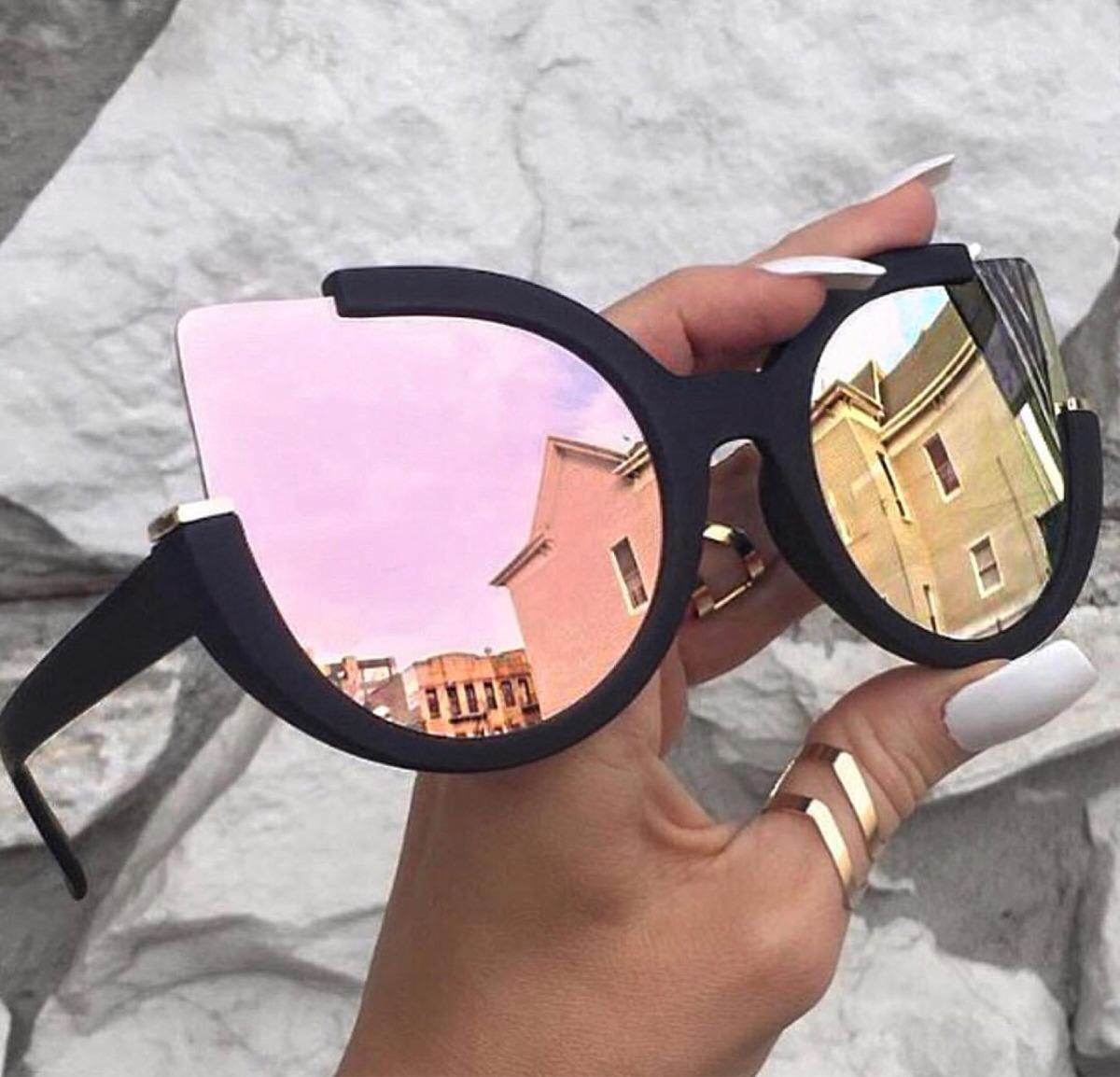 f88fc8147c anteojos sol lentes marco espejados cat eye planos mate rosa. Cargando zoom.