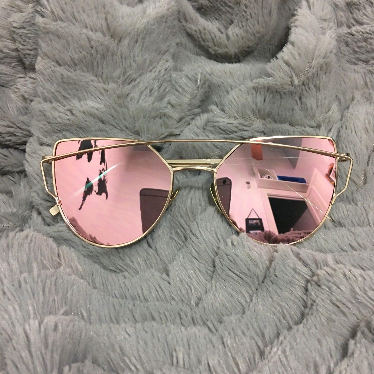 diseño popular cupón de descuento descuento hasta 60% Anteojos Sol Lentes Metal Espejado Moda Cat Eye Mujer Marcos