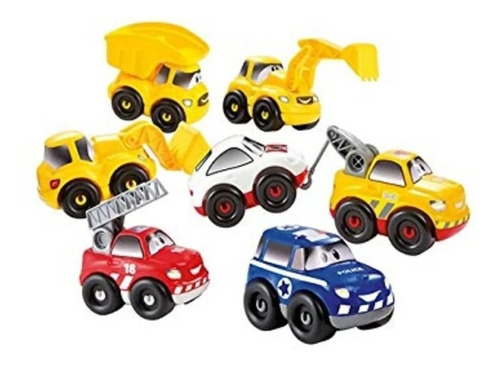 antex set 7 autos camion pala bombero policia abrick cadia