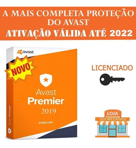 anti-vírus avast premier 2019+licença válida até 2022