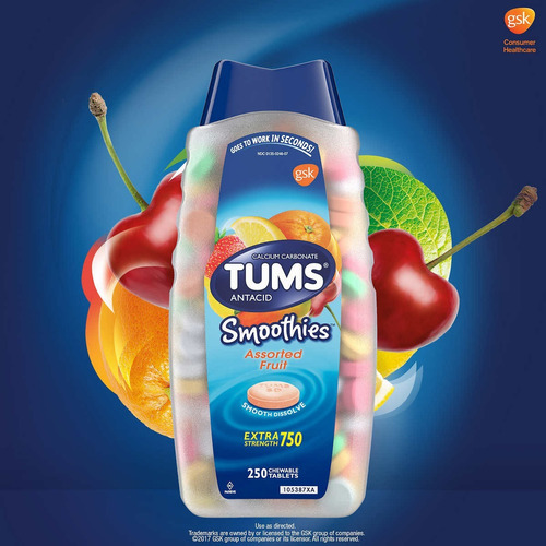 antiacido tums antiacid smoothies extra strength 250 tableta