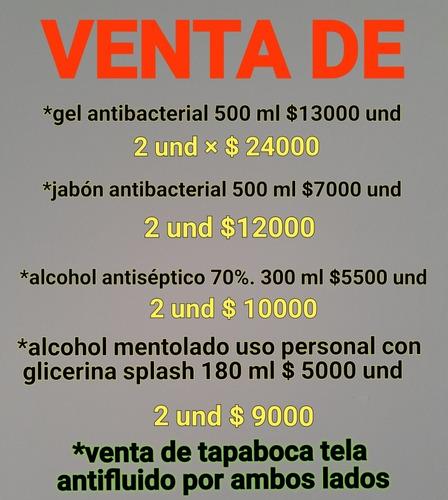 antibacteriales.gel jabón alcohol tapabocas