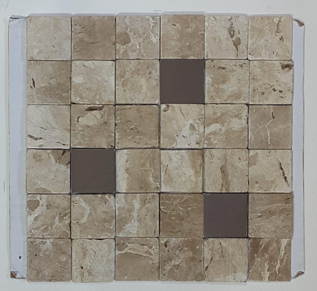 Anticato de m rmore travertino com inox mosaico for Leroy merlin mosaico decorativo