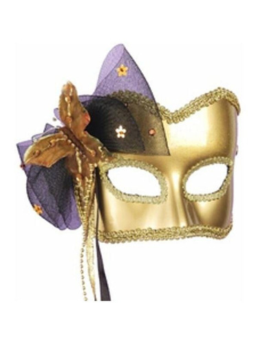 antifaz de carnaval con mariposa dorado para mujer