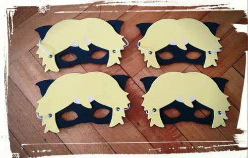 antifaz souvenir infantil goma eva lady-bug & cat-noir x 10