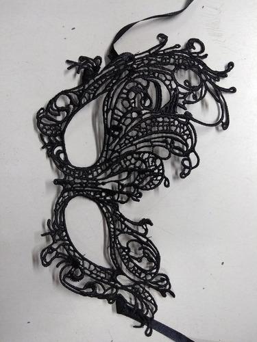 antifaz veneciano tela encaje calado negros cotillon