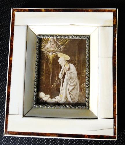 antig miniatura francesa marco con vetas originales!!