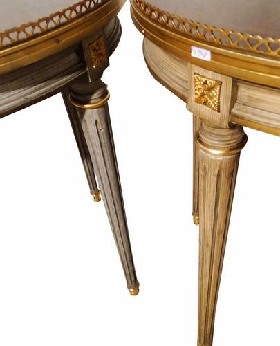 antig par mesas francesa luis xv patas patinadas gris beige