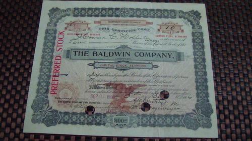 antiga ação / apólice  the baldwin company ano 1906