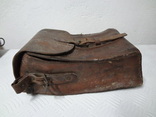 antiga bolsa em couro para munição - motociclismo militaria